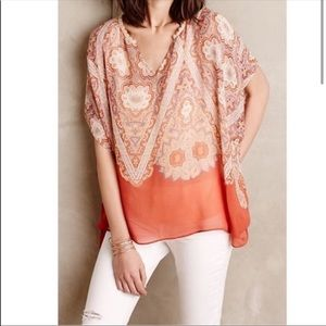 Anthropologie Maeve Orange 100% Silk Nalina Top